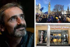 superdry's julian dunkerton sponsors coach from cheltenham to anti-brexit march in london