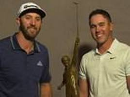 dustin johnson presents brooks koepka with player of the year trophy to quash ryder cup bust-up
