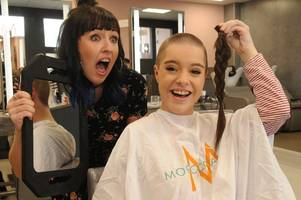 east kilbride schoolgirl braves the shave for cancer-stricken kids in memory of her mum