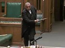 Caught off guard: Comical moment Parliament's Serjeant at Arms drops sword in the House of Commons