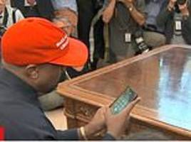 Kanye West reveals iPhone password during Oval Office meeting with President Trump