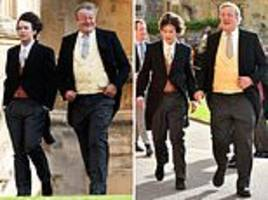 stephen fry and his husband elliott spencer attend princess eugenie's wedding together