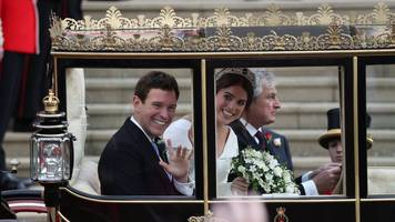 Princess Eugenie wedding in pictures: Splendid hats and gusts of wind