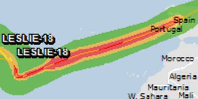 Green alert for tropical cyclone LESLIE-18. Population affected by Category 1 (120 km/h) wind speeds or higher is 0.