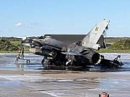 f-16 fighter jet explodes and another is damaged in belgium after mechanic accidentally opened fire