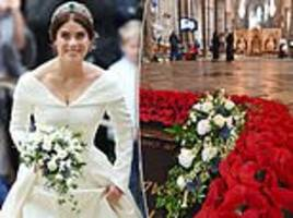 princess eugenie's bouquet laid on warrior's grave