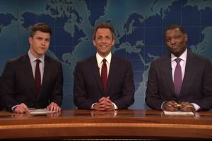 seth meyers returns to 'snl' weekend update, colin jost blames him for trump presidency (video)