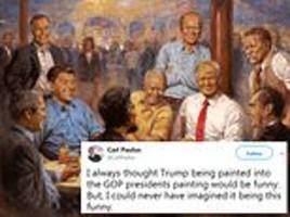 60 Minutes viewers spot 'kitschy' painting of President table Republican leaders the White House