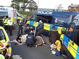 fracking protestors say things just got serious as cuadrilla begins pumping in lancashire