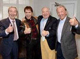 palladium legends including des o'connor and sir cliff richard pictured at famous theatre
