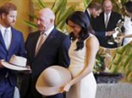 Prince Harry and Meghan Markle receive Akubra hats but decline to try them on
