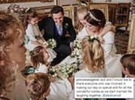eugenie shares informal wedding snap showing her surrounded by her bridesmaids and page boys