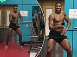 Anthony Joshua continues to enjoy his 29th birthday celebrations with a hilarious dance in the gym