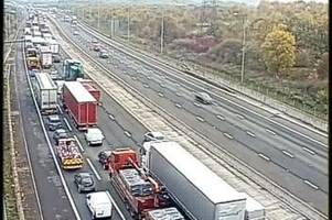 m25 traffic: serious crash which completely closed road causes 12 miles of queues