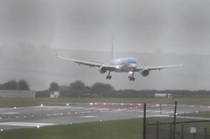 the terrifying moment plane is forced to land sideways at bristol airport during storm callum