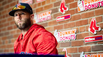 in a historic season for the red sox, the fiercely competitive dustin pedroia must watch from afar