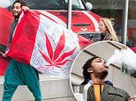canadians celebrate the first day of legal recreational marijuana by smoking in the streets