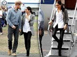 royal tour: meghan markle arrives in dubbo for second day wearing blazer by friend serena williams