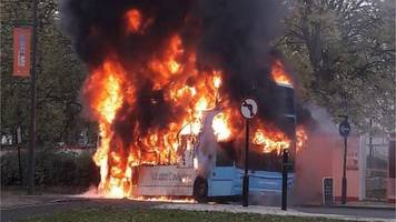 flames engulf double decker bus in coventry rush hour
