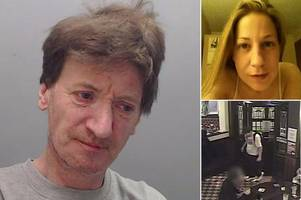 blood-stained killer strolls into takeaway and pub after battering his girlfriend to death captured on chilling cctv