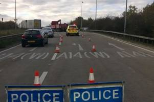Traffic live: Delays after A14 blocked due to lorry break down