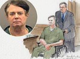paul manafort arrives to court in wheelchair