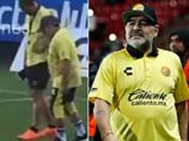 maradona struggles to walk during training as lawyer admits he has had knee injections for arthritis