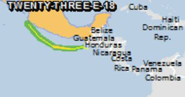 Green alert for tropical cyclone TWENTY-THREE-E-18. Population affected by Category 1 (120 km/h) wind speeds or higher is 0.