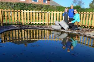 schoolchildren left 'distraught' after vandals threw their picnic bench off a roof and emptied planters in the pond