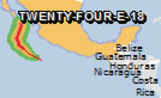 Green alert for tropical cyclone TWENTY-FOUR-E-18. Population affected by Category 1 (120 km/h) wind speeds or higher is 0.