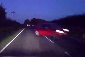 Horrifying moment crashing Ford Fiesta misses car by INCHES as driver loses control on bends