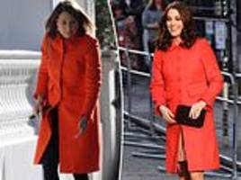 kate middleton's mother carole wears her daughter's boden coat