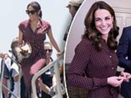 Meghan Markle wears burgundy dress that looks VERY similar one worn by Kate Middleton