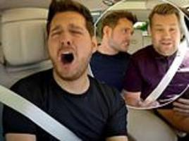 michael buble sings with james corden on carpool karaoke special for stand up to cancer uk