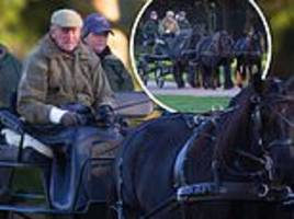 prince philip takes a carriage ride around windsor castle