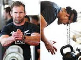all blacks put through their paces in gym workout ahead of bledisloe cup match against australia