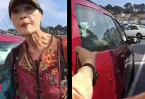 old lady parks too close to another car in home depot parking lot proceeds to meltdown