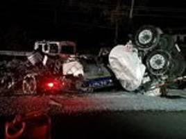 horrific wreckage of a tanker that crashed after hitting a cow on a highway, killing the driver