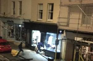 Moment raiders pulled off shop shutters with car and smashed their way in to Clifton fashion store