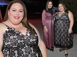 chrissy metz and sophia bush dazzle in floral print gowns for the kate spade dinner