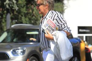 sir rod stewart spotted in la with copy of his favourite paper the daily record