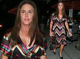 caitlyn jenner heads for dinner in colorfully striped dress after slamming trump in opinion piece