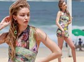 gigi hadid flaunts her epic legs in wild wrap-style dress during rio de janeiro photo shoot