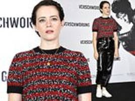 claire foy ditches usual clean cut look for edgy pvc trousers for berlin photo-call