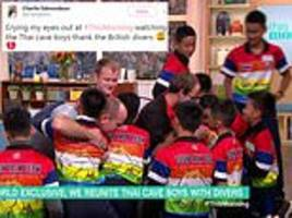 viewers left in tears as thai cave boys hug british divers who save them on this morning