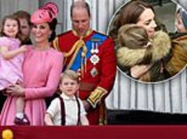 kate is teaching george, charlotte and louis the importance of hugs