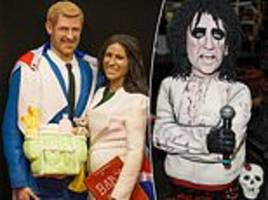 life-size cake replica of harry and meghan is the star attraction at a baking exhibit