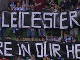 melbourne city fans hold up banner in touching tribute to leicester