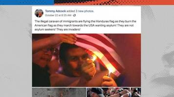 no, these pictures don't show the migrants burning the american flag