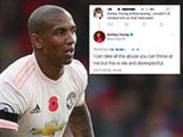 ashley young hits out at 'vile' internet troll after leicester helicopter crash comment